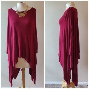 Luxe | Red Bat Wing Long Top